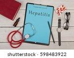 medecine concept   clipboard... | Shutterstock . vector #598483922