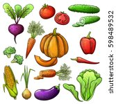 colorful sketch style set of... | Shutterstock .eps vector #598489532