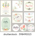 easter templates with eggs ... | Shutterstock .eps vector #598490315