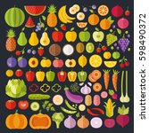 fruits and vegetables icons set.... | Shutterstock .eps vector #598490372