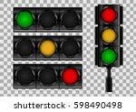 traffic lights on transparent... | Shutterstock .eps vector #598490498