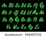 neon alphabet font in green... | Shutterstock .eps vector #598495742
