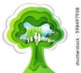 eco paper art design style ... | Shutterstock .eps vector #598497938