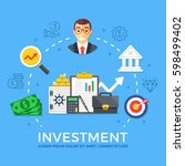 investment  capital gain. flat... | Shutterstock .eps vector #598499402