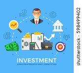 investment  capital gain. flat...   Shutterstock .eps vector #598499402