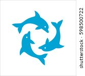 three dolphins form a circle ... | Shutterstock .eps vector #598500722