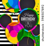 happy birthday greeting card.... | Shutterstock .eps vector #598507892