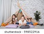 children playing children room... | Shutterstock . vector #598522916