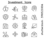 investment icon set in thin... | Shutterstock .eps vector #598523306