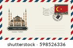 an envelope with a postage... | Shutterstock .eps vector #598526336