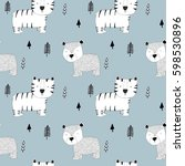 tiger and bear pattern vector. | Shutterstock .eps vector #598530896