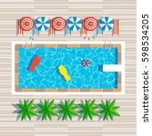 swimming pool top view with... | Shutterstock .eps vector #598534205
