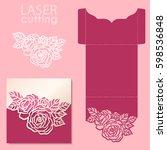 vector die laser cut envelope... | Shutterstock .eps vector #598536848