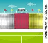 stadium tribune with flags and... | Shutterstock .eps vector #598537586