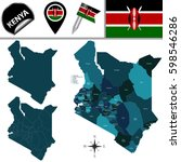vector map of kenya with named...