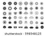 set of flower design elements....