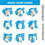 hands washing icons set. wash... | Shutterstock .eps vector #598549682
