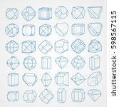 big set of geometrical figures   Shutterstock .eps vector #598567115