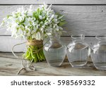 bouquet of beautiful snowdrops... | Shutterstock . vector #598569332