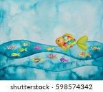 watercolor illustration of... | Shutterstock . vector #598574342