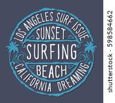 surfing california typography ... | Shutterstock .eps vector #598584662