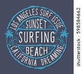 surfing california typography ... | Shutterstock .eps vector #598584662