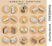 isometric cabinet furniture set  | Shutterstock .eps vector #598588406