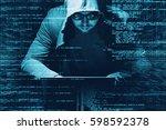 internet crime concept. hacker... | Shutterstock . vector #598592378