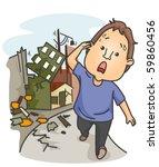 an anxious man walking away... | Shutterstock .eps vector #59860456