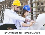 architects looking at the... | Shutterstock . vector #598606496