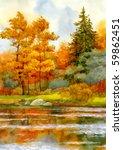 Watercolor Landscape. Autumnal...