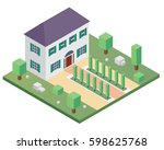 modern isometric house... | Shutterstock .eps vector #598625768