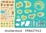 vector set. summer vacation.... | Shutterstock .eps vector #598627412