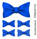 cobalt blue bow tie with white... | Shutterstock .eps vector #598639742