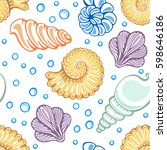 seamless pattern with seashells ... | Shutterstock .eps vector #598646186