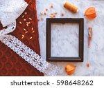 vintage mockup. terracotta... | Shutterstock . vector #598648262