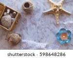 vintage mockup. sea shells ... | Shutterstock . vector #598648286