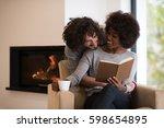 young beautiful multiethnic... | Shutterstock . vector #598654895