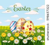 colored easter eggs in the... | Shutterstock .eps vector #598657322