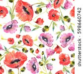 watercolor poppies   floral... | Shutterstock . vector #598660742