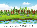 illustration of a summer... | Shutterstock .eps vector #598661612