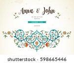 vector vintage wedding... | Shutterstock .eps vector #598665446