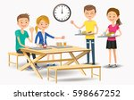 eating with new friends at the... | Shutterstock .eps vector #598667252