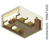 interior room hostel in... | Shutterstock .eps vector #598671632