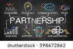 partnership chart with keywords ... | Shutterstock . vector #598672862