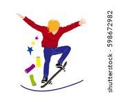 teenager skateboarding on the... | Shutterstock .eps vector #598672982