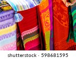 many multicolored textiles... | Shutterstock . vector #598681595