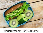healthy lunch box with... | Shutterstock . vector #598688192