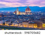 twilight of duomo florence in... | Shutterstock . vector #598705682