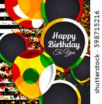 happy birthday greeting card.... | Shutterstock .eps vector #598715216